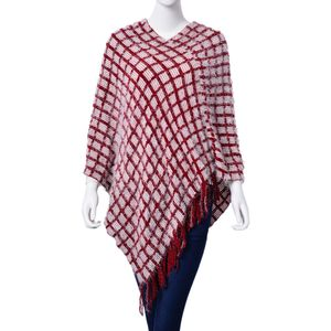 Spring Special - Burgundy Checks Pattern 100% Acrylic Feather Yarn Poncho (40x30 in)