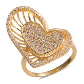 Simulated Diamond Goldtone Heart Ring (Size 8.0) TGW 5.85 cts.