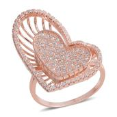 Simulated Diamond Rosetone Heart Ring (Size 8.0) TGW 5.850 cts.