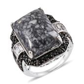 Austrian Pinolith, Thai Black Spinel, White Topaz Platinum Over Sterling Silver Ring (Size 9.0) TGW 25.63 cts.