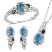 Malgache Neon Apatite, Russian Dioside, White Zircon Platinum Over Sterling Silver J-Hoop Earrings, Ring (Size 7) and Pendant With Chain (20 in) TGW 2.88 cts.