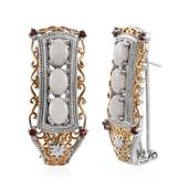 Australian White Opal, Mozambique Garnet 14K YG and Platinum Over Sterling Silver Openwork Omega Clip Earrings TGW 3.600 Cts.