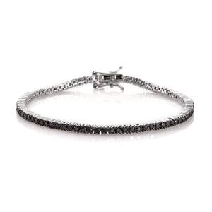 Doorbuster Black Diamond Platinum Over Sterling Silver Tennis Bracelet (8.00 In) Total Diamond Weight 2.95 Carat, Total Gem Stone Weight 2.950 Carat