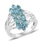 Madagascar Paraiba Apatite Platinum Over Sterling Silver Openwork Ring (Size 5.0) TGW 3.40 cts.