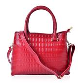 J Francis - Red Genuine Leather Tote Bag (11.5x4.5x8.5 In)