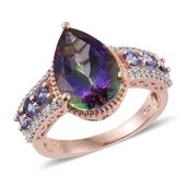 Northern Lights Mystic Topaz, Tanzanite, White Zircon 14K RG Over Sterling Silver Ring (Size 9.0) TGW 7.65 cts.