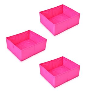 Set of 3 Fuchsia Drawer Organizer
