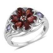 Mozambique Garnet, Tanzanite Platinum Over Sterling Silver Openwork Floral Ring (Size 8.0) TGW 3.080 cts.