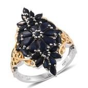 Kanchanaburi Blue Sapphire 14K YG and Platinum Over Sterling Silver Elongated Ring (Size 8.0) TGW 4.490 cts.