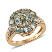 Madagascar Paraiba Apatite, Cambodian Zircon 14K YG Over Sterling Silver Cluster Ring (Size 10.0) TGW 3.24 cts.