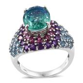 Peacock Quartz, Multi Gemstone Platinum Over Sterling Silver Cluster Ring (Size 10.0) TGW 13.16 cts.