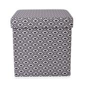 Gray and White Collapsible Storage Ottoman (15x15x15in)