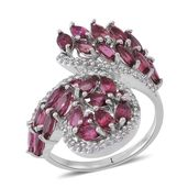 Morro Redondo Pink Tourmaline Sterling Silver Bypass Ring (Size 8.0) TGW 3.40 cts.