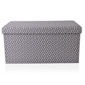 Gray Faux Leather Collapsible Storage Bench (30x15x15 in)