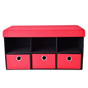 Red Collapsible Storage Bench with 3 Drawers and 3 Compartments (30x15 in)