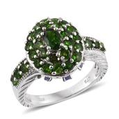Russian Diopside, Tanzanite Platinum Over Sterling Silver Ring (Size 8.0) TGW 3.24 cts.