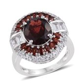 Mozambique Garnet, White Topaz Platinum Over Sterling Silver Ring (Size 7.0) TGW 10.18 cts.