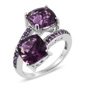 Purple Fluorite, Amethyst 14K YG and Platinum Over Sterling Silver Bypass Ring (Size 7.0) TGW 9.65 cts.