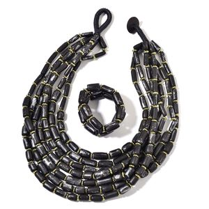 Black Wooden Beads, Chroma Bracelet (Stretchable) and Multi Strand Necklace (24.00 In)
