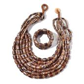 Brown Wooden Beads, Chroma Bracelet (Stretchable) and Multi Strand Necklace (24.00 In)