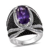Amethyst, Thai Black Spinel, White Zircon Platinum Over Sterling Silver Elongated Ring (Size 11.0) TGW 10.39 cts.