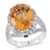 Brazilian Citrine, Red Sapphire, White Zircon Sterling Silver Split Statement Ring (Size 8.0) TGW 12.470 cts.