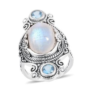 Artisan Crafted Sri Lankan Rainbow Moonstone, Blue Topaz Sterling Silver Elongated Ring (Size 7.0) TGW 12.370 cts.