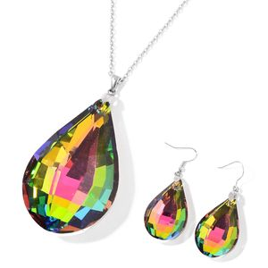 Rainbow Glass Stainless Steel Drop Earrings and Pendant With Chain (24 in)