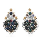 Ethiopian Sable Welo Opal, Multi Gemstone 14K YG and Platinum Over Sterling Silver Earrings TGW 3.47 cts.