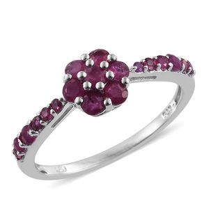 Burmese Ruby Platinum Over Sterling Silver Floral Ring (Size 10.0) TGW 1.47 cts.