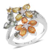 Multi Sapphire Sterling Silver Floral Split Ring (Size 9.0) TGW 2.52 cts.