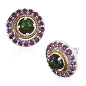 Ethiopian Sable Welo Opal, Orissa Rhodolite Garnet 14K YG and Platinum Over Sterling Silver Ear Jacket Stud Earrings TGW 2.61 cts.