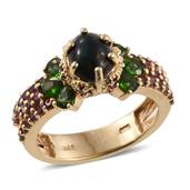Ethiopian Sable Welo Opal, Russian Diopside, Orissa Rhodolite Garnet 14K YG Over Sterling Silver Ring (Size 8.0) TGW 3.620 cts.