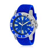 OCEANAUT Japanese Movement Water Resistant Men's Watch with Blue Silicone Band and Stainless Steel Back