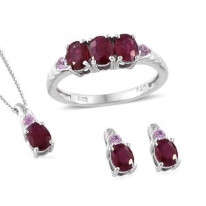 Burmese Ruby, Madagascar Pink Sapphire Platinum Over Sterling Silver Earrings, Ring (Size 8) and Pendant With Chain (20 in) TGW 2.44 cts.