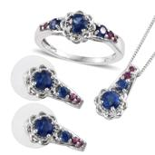 Himalayan Kyanite, Orissa Rhodolite Garnet Platinum Over Sterling Silver Earrings, Ring (Size 8) and Pendant With Chain (20 in) TGW 4.14 cts.