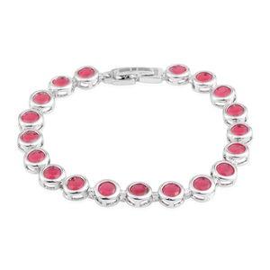 Red Simulated Diamond Silvertone Bracelet (7.25 In)