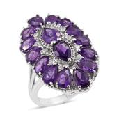 Lusaka Amethyst, Cambodian Zircon Platinum Over Sterling Silver Elongated Ring (Size 10.0) TGW 6.100 cts.