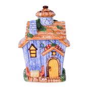 Blue Ceramic House Cookie Jar (8x4 in)