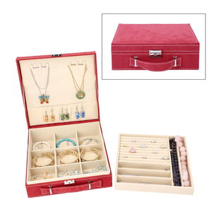 TLV Burgundy Velvet Briefcase Style 2-Tier Jewelry Box with Anti-Tarnish and Scratch Protection Interior (Approx 60 Rings, etc) (10x3x10 in)