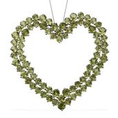 Hebei Peridot Platinum Over Sterling Silver Heart Pendant With Chain (20 in) TGW 44.28 cts.