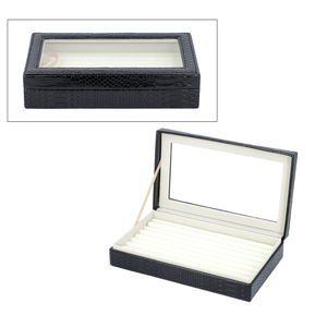 TLV Black Faux Leather Dragon Skin Pattern Jewelry Box with Anti-Tarnish Treated Lining (Approx. 63 Rings) (10x2x6 in)
