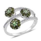 Brazilian Mint Garnet, Russian Diopside, White Zircon Platinum Over Sterling Silver Bypass Ring (Size 9.0) TGW 1.530 cts.