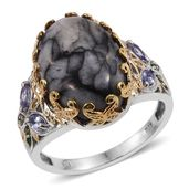 Austrian Pinolith, Tanzanite, Russian Diopside 14K YG and Platinum Over Sterling Silver Ring (Size 6.0) TGW 15.64 cts.