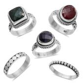 Bali Legacy Collection Set of 5 Emerald, Sapphire and Ruby (Color Enhanced) Sterling Silver Stackable Rings (Size 8) TGW 12.60 cts.