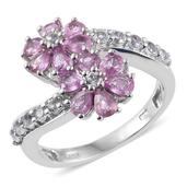 Madagascar Pink Sapphire, White Topaz Platinum Over Sterling Silver Bypass Floral Ring (Size 7.0) TGW 3.02 cts.