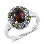 Ethiopian Sable Welo Opal, Russian Diopside, Tanzanite Platinum Over Sterling Silver Ring (Size 6.0) TGW 2.60 cts.