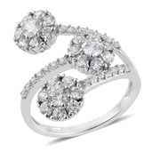 J Francis - Platinum Over Sterling Silver Fashion Bypass Ring Made with SWAROVSKI ZIRCONIA (Size 7.0) TGW 4.44 cts.