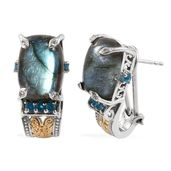 Malagasy Labradorite, Malgache Neon Apatite, White Zircon 14K YG and Platinum Over Sterling Silver Omega Clip Earrings TGW 16.23 cts.