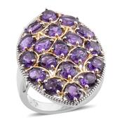 Lusaka Amethyst 14K YG and Platinum Over Sterling Silver Elongated Ring (Size 8.0) TGW 6.36 cts.